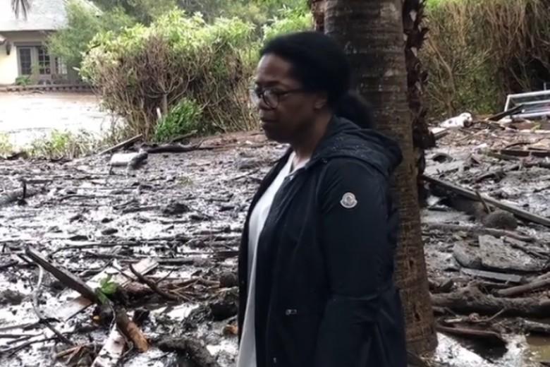Shocked Oprah Winfrey posts video of mudslide damage to her California property