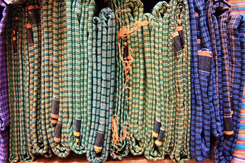 Various 'lurik' motifs, ready to be sold.