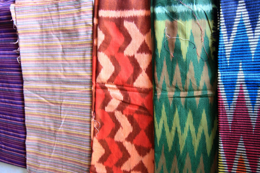 Various 'lurik' cloth, ready to be sold.