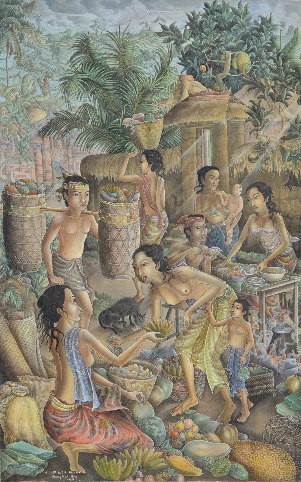 Lot #564 'Suasana Pasar' by Anak Agung Gde Anom Sukawati.