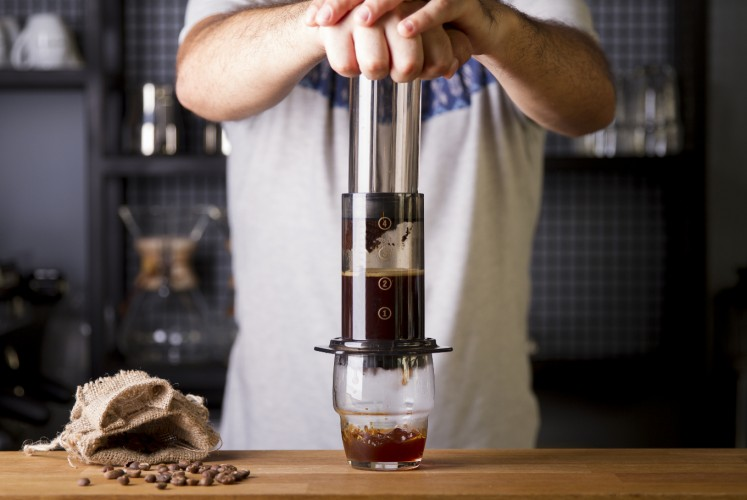 The Aeropress machine is one of the tools available for the manual-brewing technique.