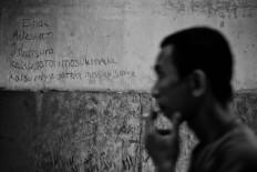 Graffiti is seen on a wall at the rehabilitation center. Antara/Hafidz Mubarak