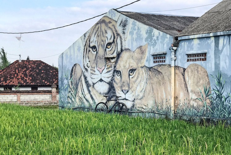 Enlivening: A mural beautifies an otherwise dull wall of a house in East Denpasar.
