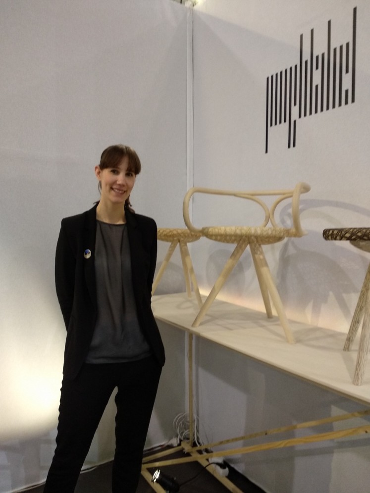 Anne de Jongh poses with her rattan products at her brand Jonghlabel's booth at Maison&Objet on  Jan. 20.