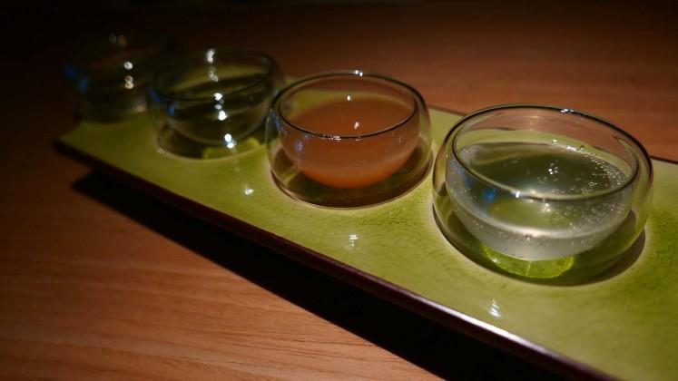 Sake flight allows customers to sample the variety of sake.