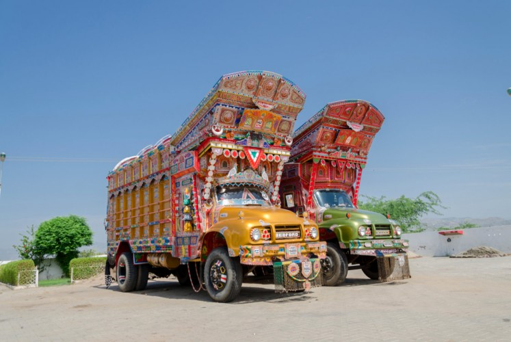 Elaborately decorated trucks in Pakistani province of Punjab.