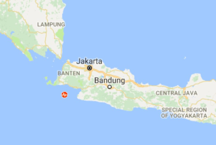 Alert area in January covers 81 km SouthWest Lebak Banten, 100 km SouthWest Pandeglang, Banten, 108 km SouthWest Bogor, West Java, 125 km SouthWest Serang-Banten, and 153 km SouthWest Jakarta-Indonesia