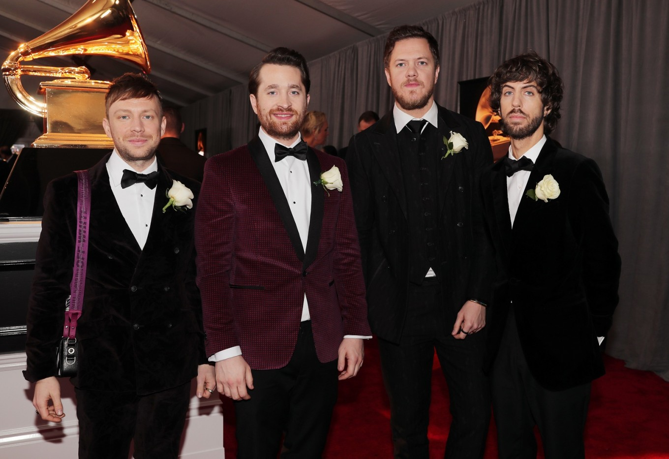 (L-R) Recording artist Ben McKee, Daniel Platzman, Dan Reynolds, and Wayne Sermon of musical group Imagine Dragons attend the 60th Annual Grammy Awards at Madison Square Garden on January 28, 2018 in New York City.