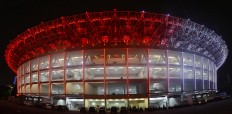 "Red and White lights illuminate the newly renovated Gelora Bung Karno Stadium in Senayan, South Jakarta, Friday, January. 12. President Joko ""Jokowi"" Widodo will inaugurate the stadium on Sunday January 14, which will host a friendly soccer match between Indonesia and Iceland. JP/Seto Wardhana."