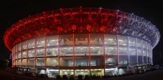 "Red and White lights illuminate the newly renovated Gelora Bung Karno Stadium in Senayan, South Jakarta, Friday, January. 12. President Joko ""Jokowi"" Widodo will inaugurate the stadium on Sunday January 14, which will host a friendly soccer match between Indonesia and Iceland. JP/Seto Wardhana."