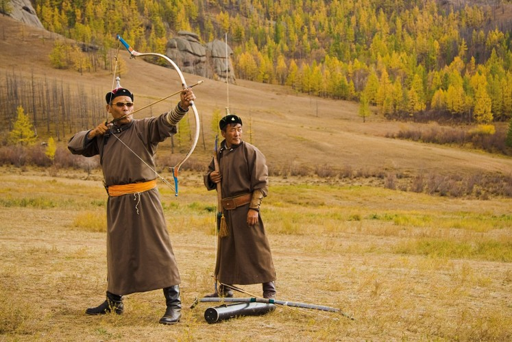 An archer takes aim in Mongolia