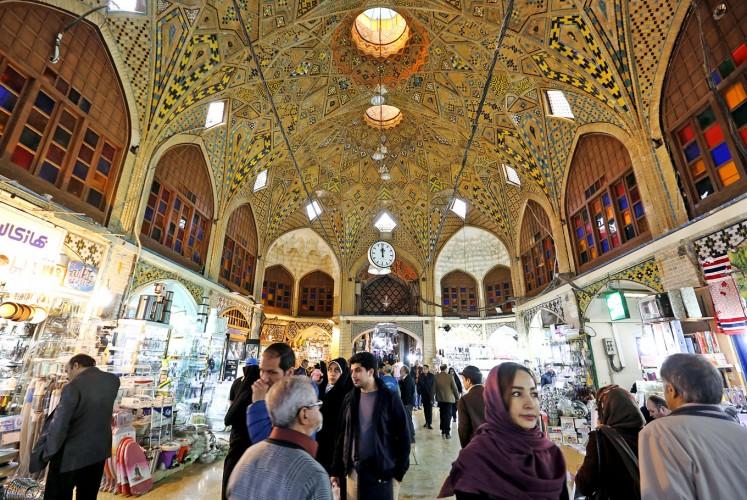 Bargain hunting: Iranians shop at Tehran's historic Grand Bazaar.