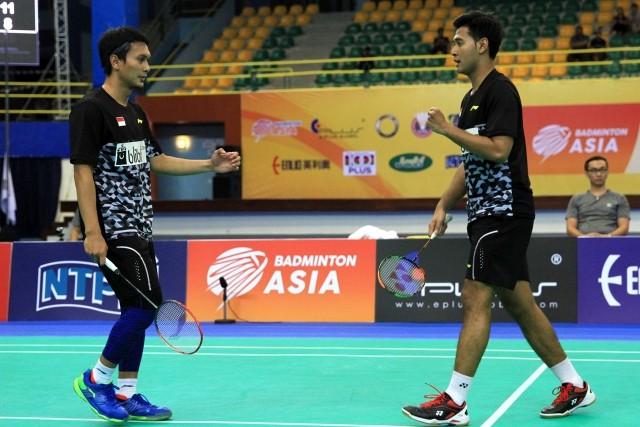 Selebrasi kemenangan Mohammad Ahsan dan Angga Pratama pada