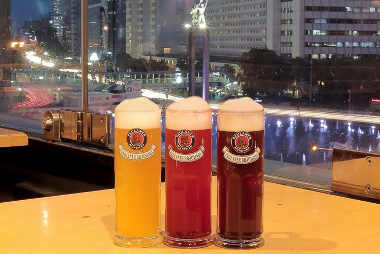 The beers at Paulaner Brauhaus, Central Jakarta.