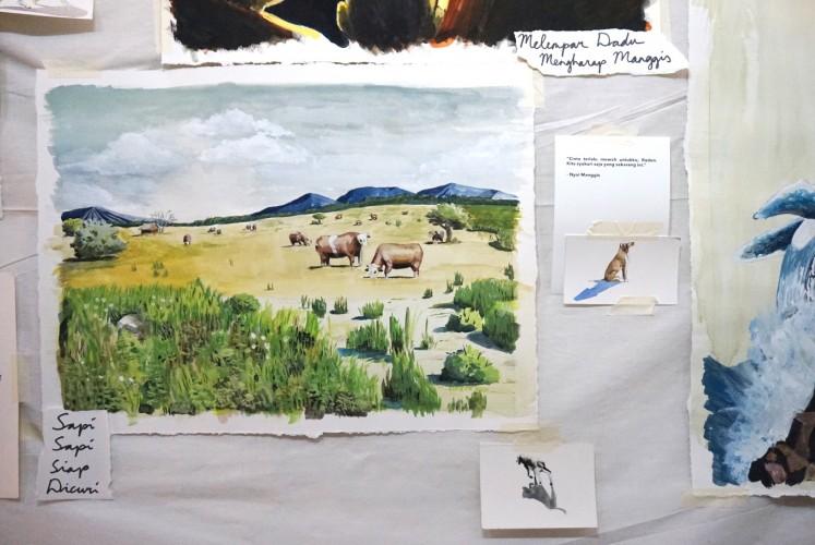 Some of the artworks displayed in the 'Lakon Sungu Lembu' painting exhibition.