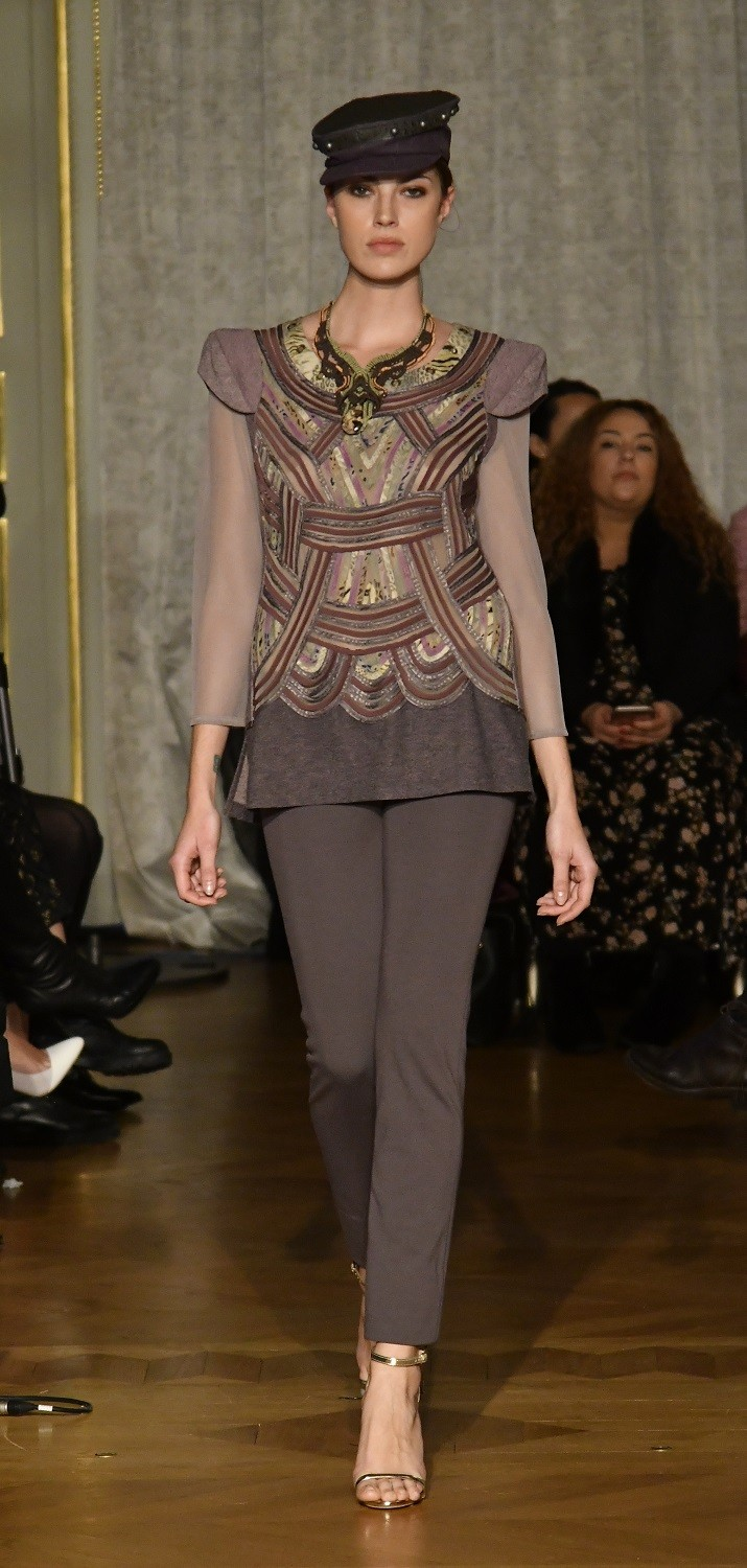 A model showcases a piece by Ika Butoni for Oriental Fashion Show 2018 in Paris on Jan. 25.
