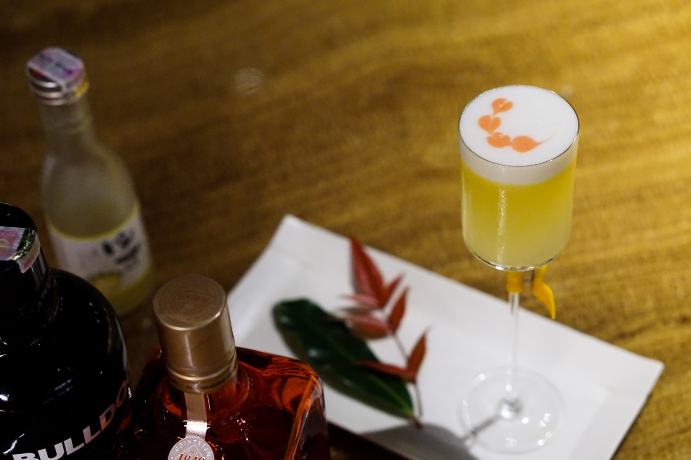 "Kei Bar presents the 'Yuzu Sake Cocktail': The idea of this cocktail comes from when Kei Bar's Indra Sartika was reflecting on Umenoyado Yuzu sake. ""It has dominant sweet-and-sour notes, which is not a perfect pairing for enjoying sashimi and sushi. Out of curiosity, I tried to create a cocktail using that same sake and to enhance the flavor to create a drink that could be enjoyed by many."" The Yuzu Sake Cocktail has a top-notch citrus aroma and a pretty masculine presentation that's a perfect yin/yang blend for Valentine's. Recipe: 30ml gin, 10ml Contreau, 10ml Umenoyado Yuzu Sake, 30ml orange juice, 5ml Yuzu juice, egg white."