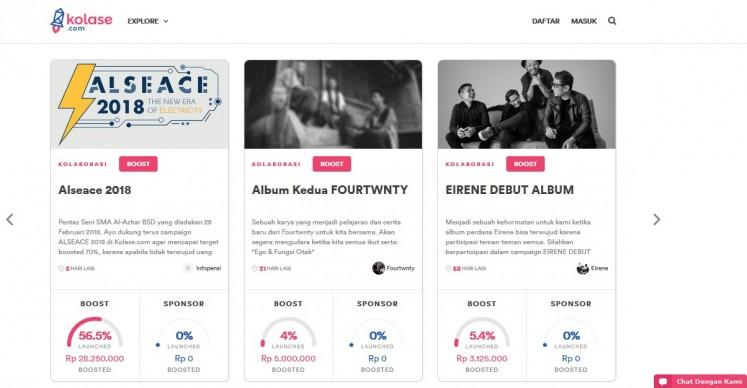 The homepage of 'Kolase.com'.