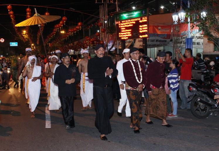 People of Sudiroprajan village in Surakarta, Central Java, held the