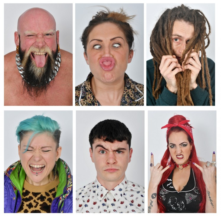 A composite image shows potential models during a casting at the UGLY model agency in London on January 25, 2018. Long necks, large chins, flapping ears, crooked noses: welcome to Ugly Models, a London modelling agency of a different stripe, where imperfections are heralded.