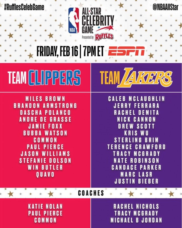 The full line-up of the 2018 NBA All Star celebrity game.