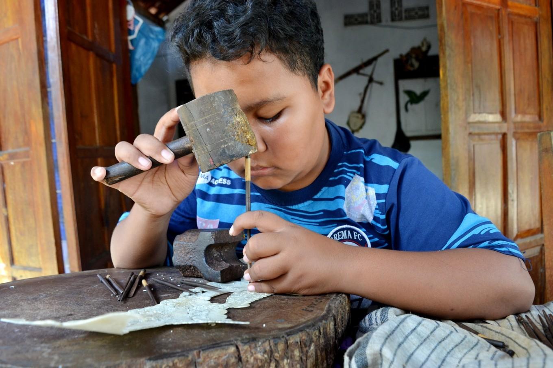 Gilang from Kepuhsari village started making wayang kulit when he was in junior high school.