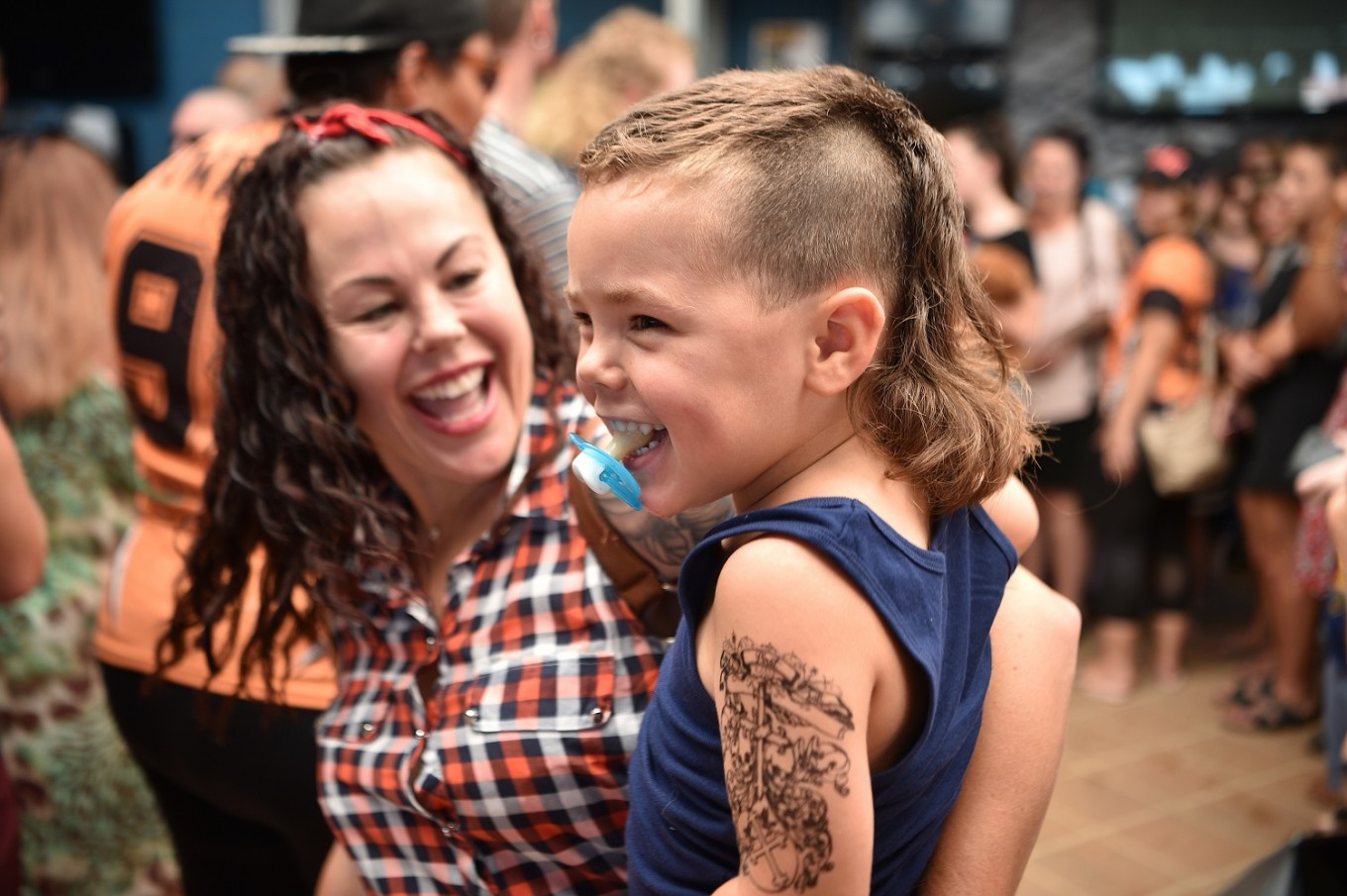 A child sports a mullet haircut at Mulletfest 2018 in the town of Kurri Kurri, 150 kms north of Sydney on February 24, 2018.