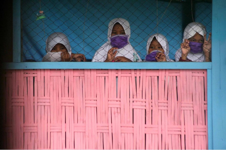 The students even wear surgical masks during school breaks. JP/Maksum Nur Fauzan