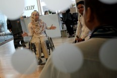 Disabled people join an interview session at HRD consultant company PersolKelly in Jakarta on Tuesday, February 27. Few companies employ disabled people despite government regulations requiring a quota of 1 and 2 percent representation in public and state-owned companies, respectively. JP/Jerry Adiguna