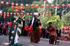 Dancers perform the Adeging Kutha Sala (the establishment of Surakarta) colossal dance during the city's 273rd anniversary. JP/Maksum Nur Fauzan