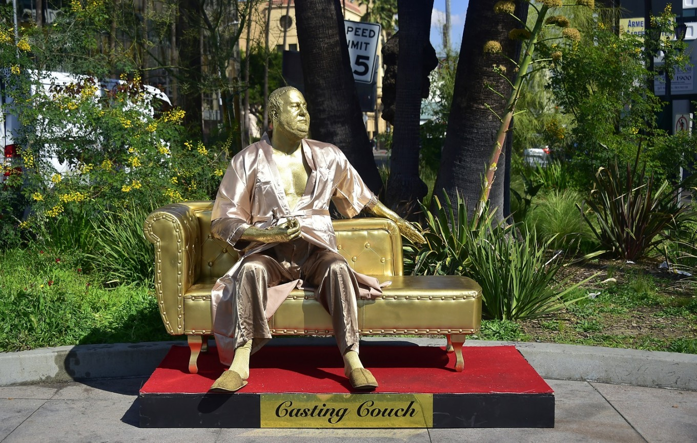 Harvey Weinstein Casting Couch Sculpture Graces Hollywood Boulevard