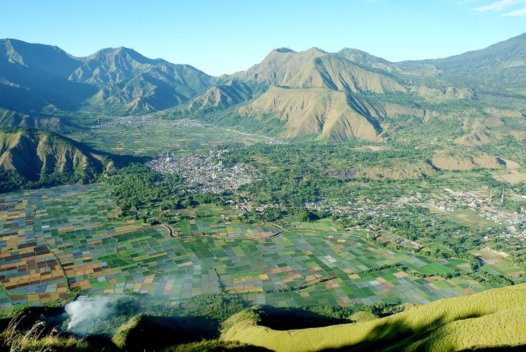 Picture perfect: A magnificent view from Pergasingan Hill with its green rice fields greets visitors in the morning.