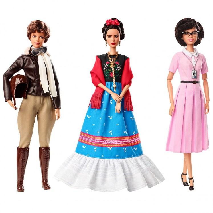 The first three dolls from Barbie's newly introduced Inspiring Women doll line series are Amelia Earhart, Frida Kahlo, and Katherine Johnson.