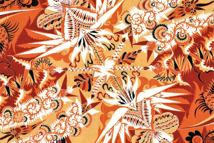 Ragnhild d'Ailly, the Netherlands ( 1928 ). Batik on silk shawl in Art Deco style.