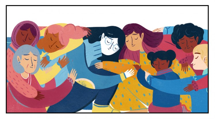 An image created by Francesca Sanna as featured on the 2018 International Women's Day Google Doodle.