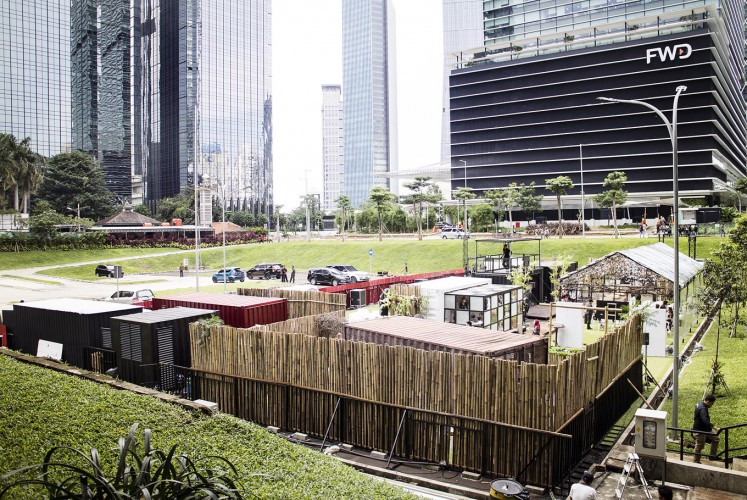 From a far: A view of the Hashida: Project Evolution exhibition, with a 'portacamp' concept, in Lot 16, SCBD.
