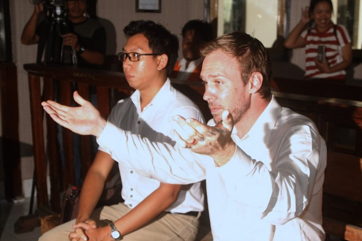 Accused: Australian citizen Joshua James Baker attends his case hearing at the Denpasar District Court in Bali on March 13.