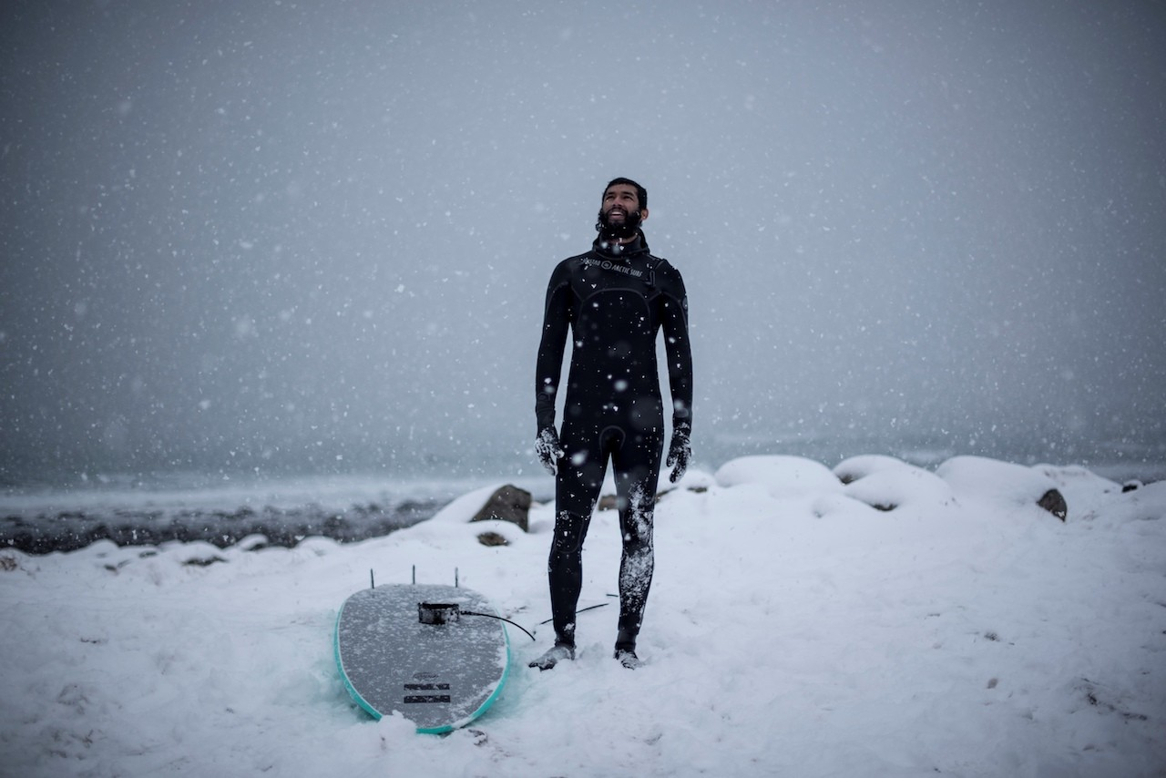 Braving the cold: Surfing above the Arctic Circle