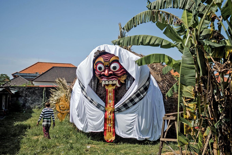 "Gigantic: Ogoh-ogoh ""Sepuh Barong"" in Banjar Sindu Kaja, Sanur, takes the shape of fish with a barong (mythological lion) head."