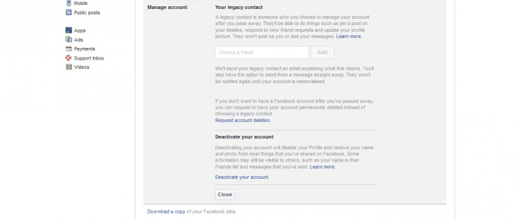 Facebook allows users to deactivate their account, but to delete it completely, you'll have to make a direct request to Facebook.