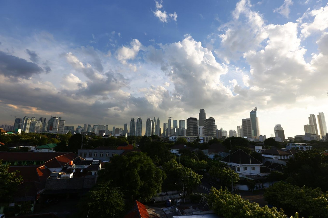 The Jakarta skyline as seen from the outdoor area of Por Que No.