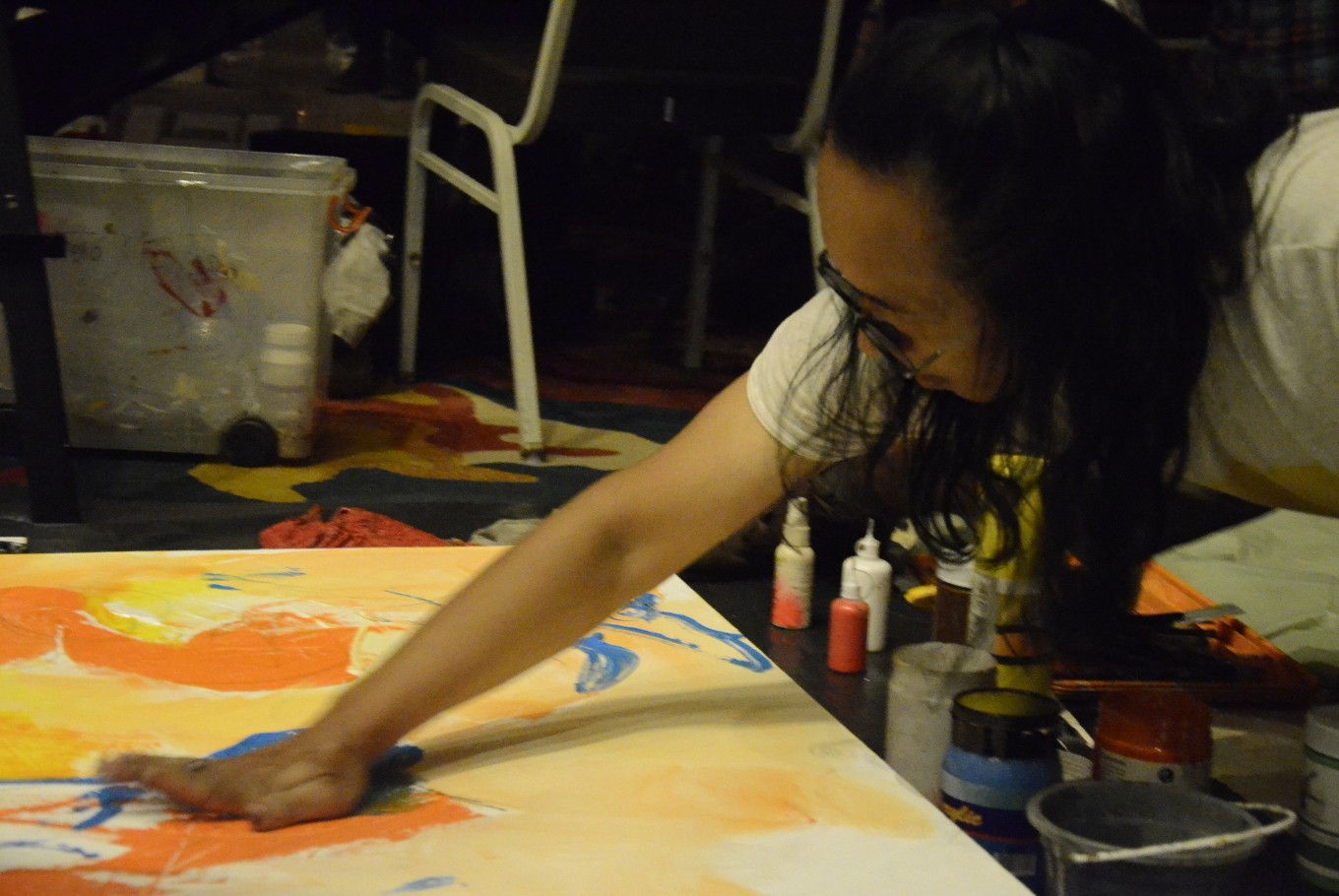 Indonesian artists paint in the dark during Earth Hour