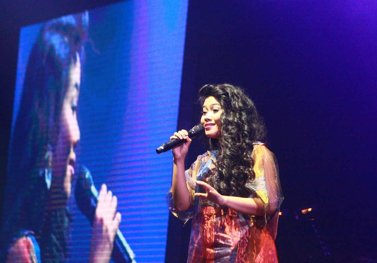 Indonesian singer Yura Yunita performs at the Hitman: David Foster and Friends concert series at De Tjolomadoe, Karanganyar, Central Java, on March 24.