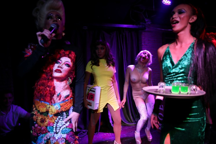 Drag queens perform at a club in Bangkok, Thailand March 11, 2018. Picture taken March 11, 2018.