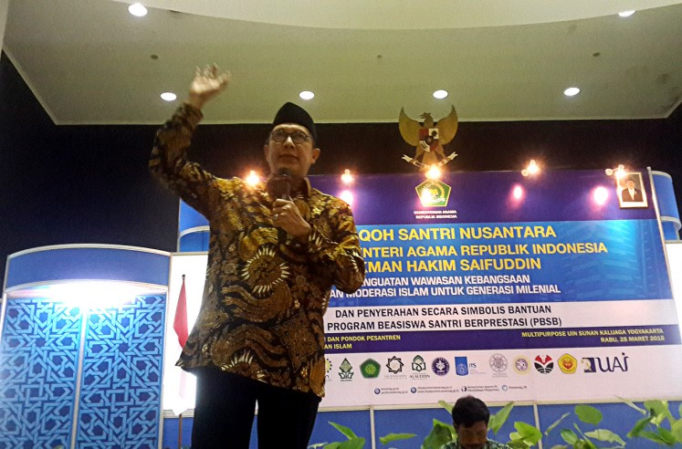 Maintaining solidity: Religious Affairs Minister Lukman Hakim Saefuddin gives his remarks during