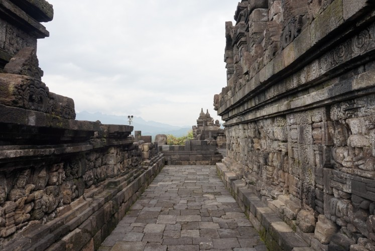 One of the alleys at Borobudur Temple in Magelang, Central Java.