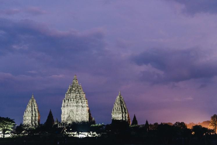 Prambanan Temple complex in the evening as seen from the Rama Shinta Garden Resto.