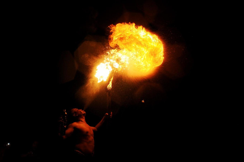 Pramono shows off his fire-breathing skills during the festival. JP/Magnus Hendratmo