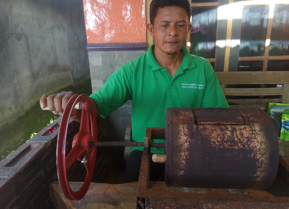 Suwondo, a resident working to revamp the coffee industry of Lencoh village in Selo subdistrict, Boyolali, Central Java.