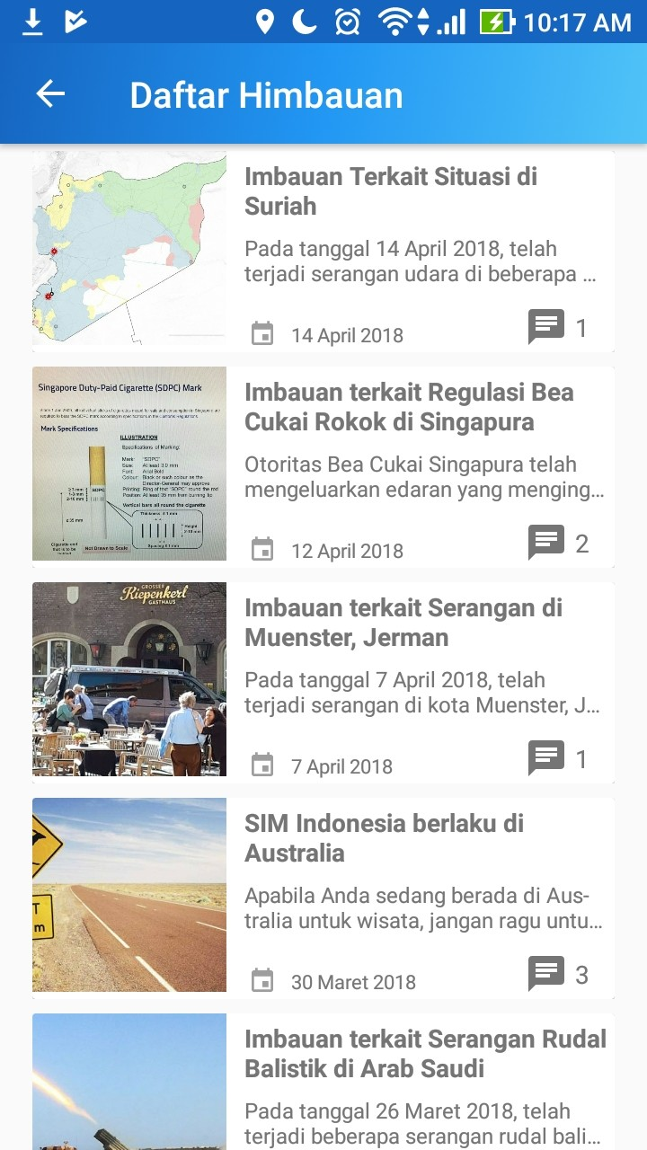 The Safe Travel app has a special page feed for regularly updated travel news.